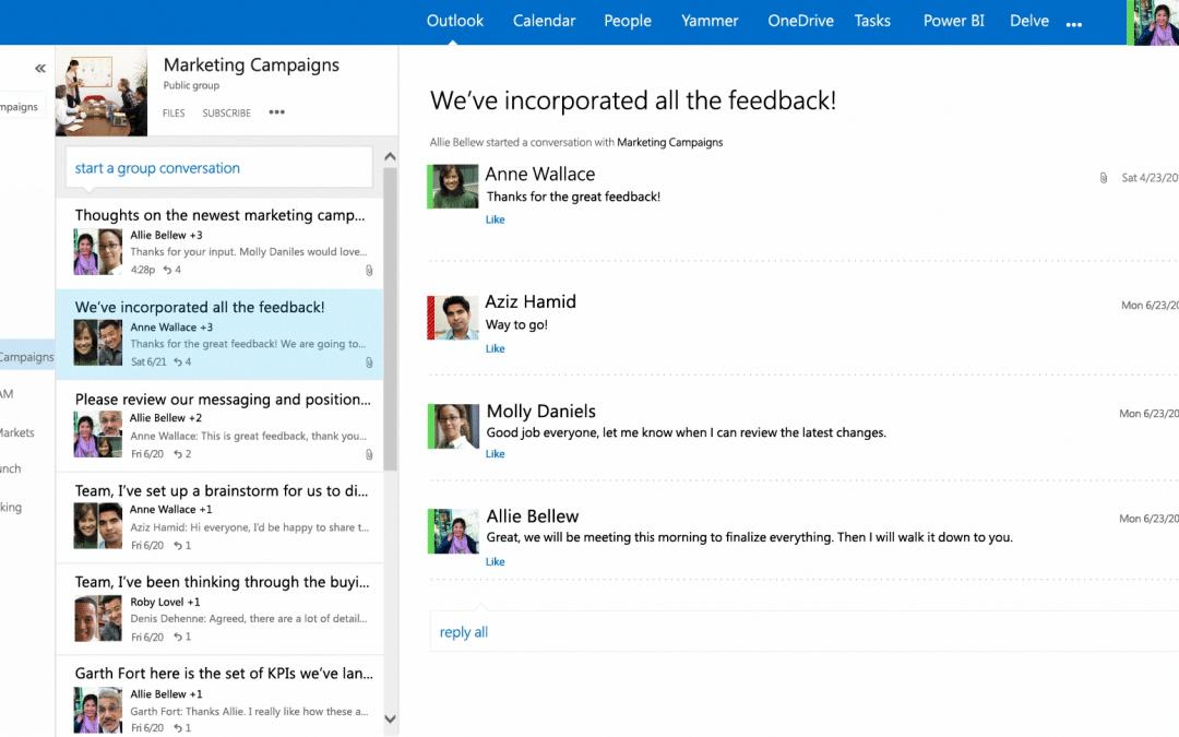 Outlook Groups теперь поддерживает 11 языков и уготовил много приятного пользователям