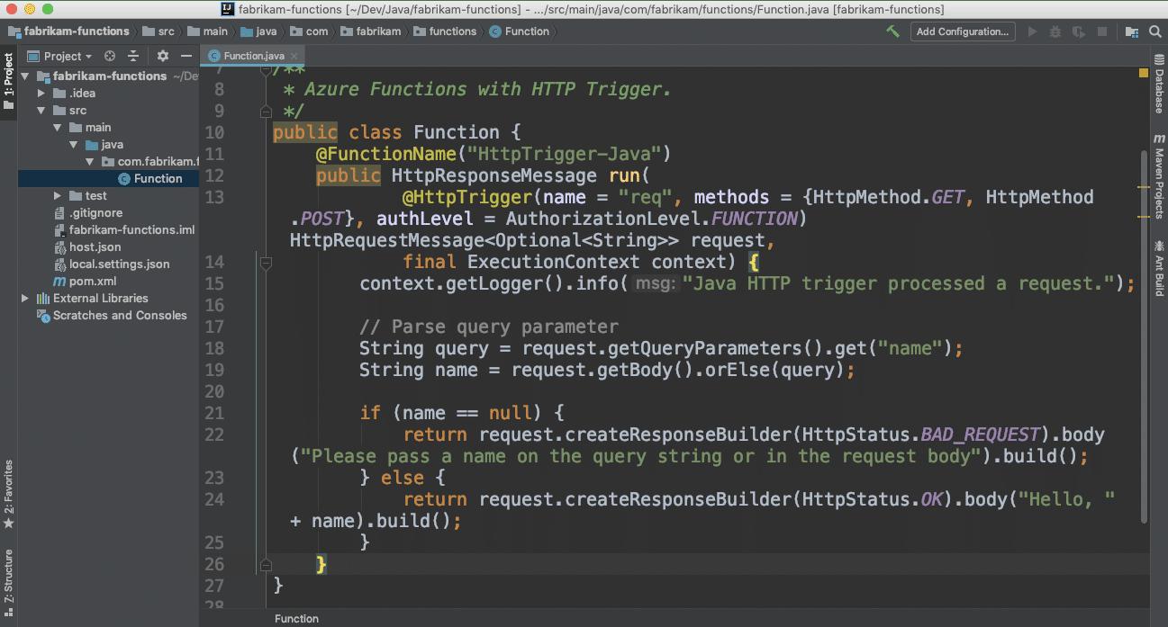Доступна поддержка Java в функциях Azure