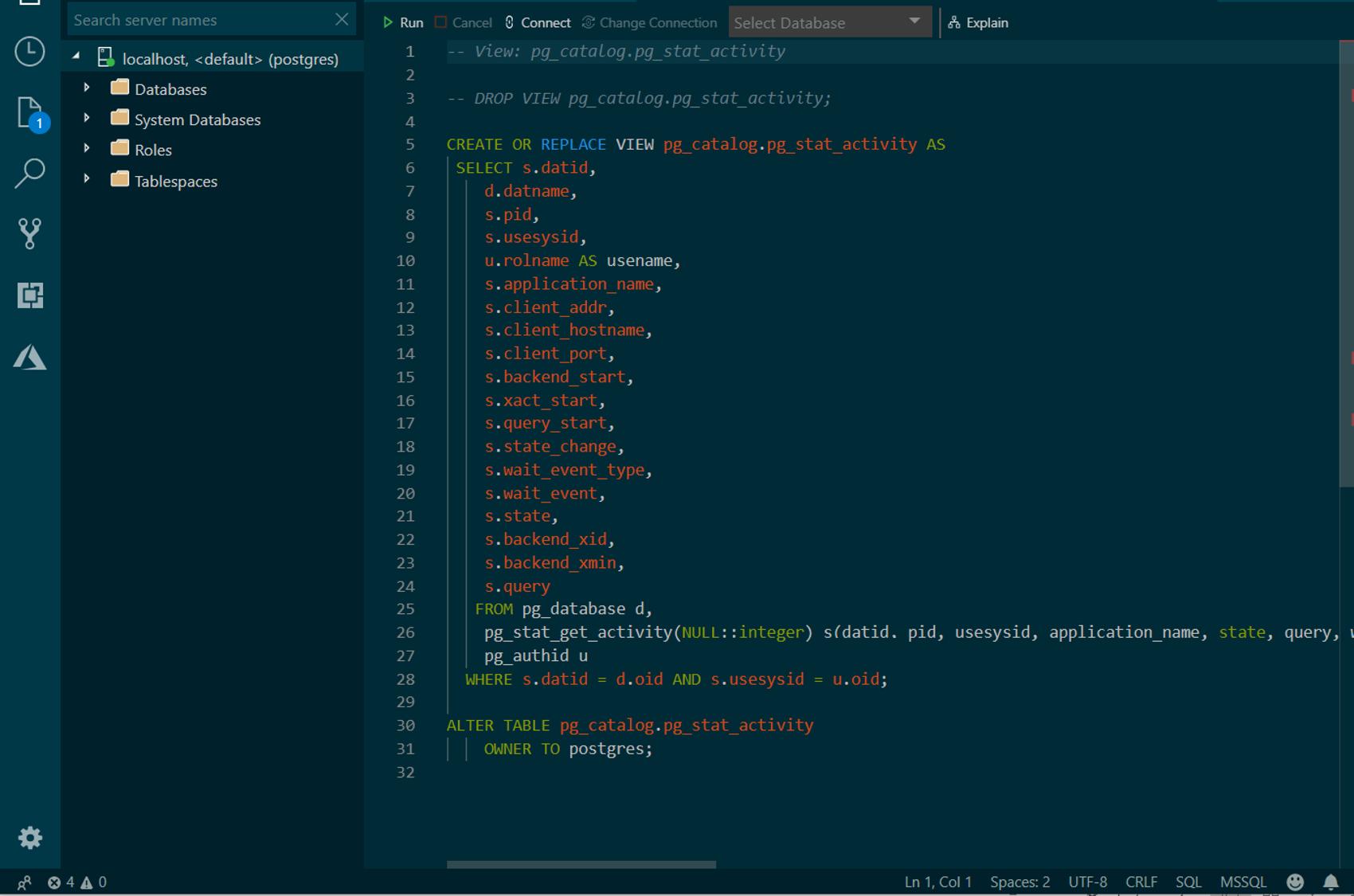 Azure Data Studio: редактор графического интерфейса с открытым исходным кодом для Postgres