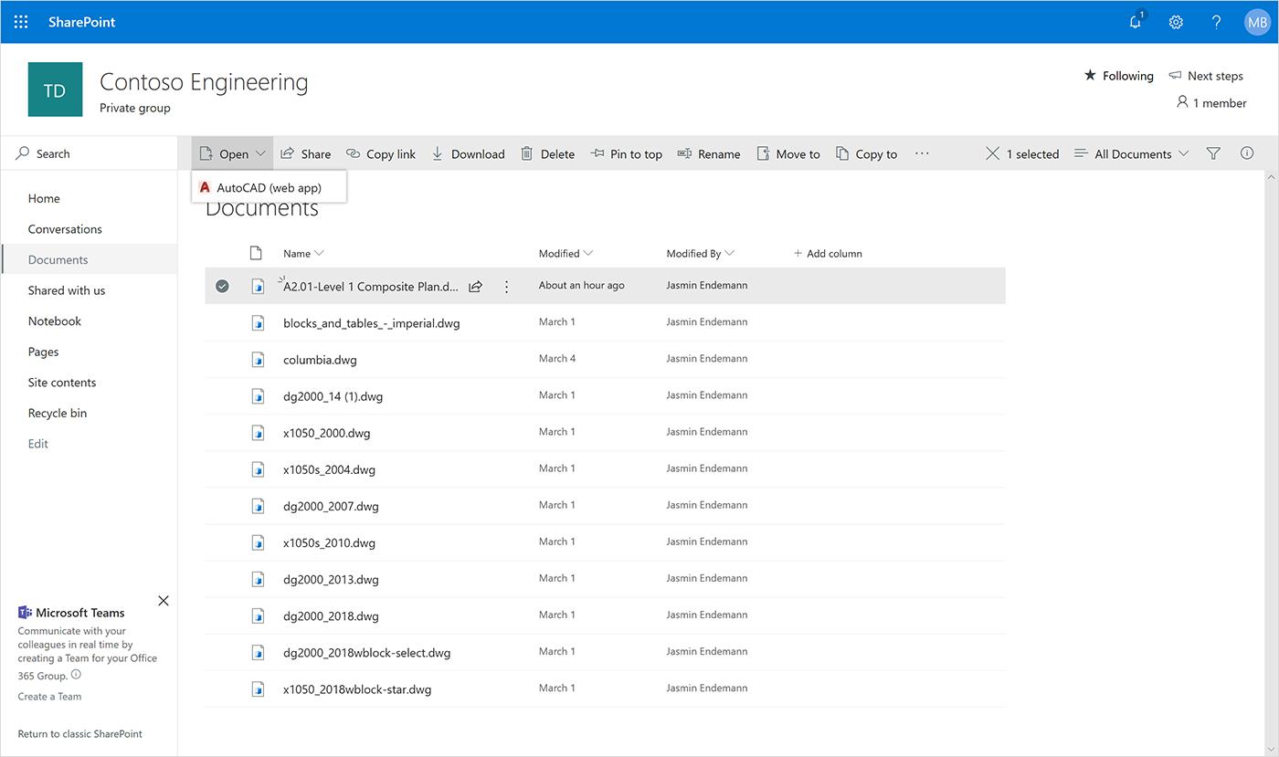 Новые интеграции с Autodesk AutoCAD для Microsoft OneDrive и SharePoint