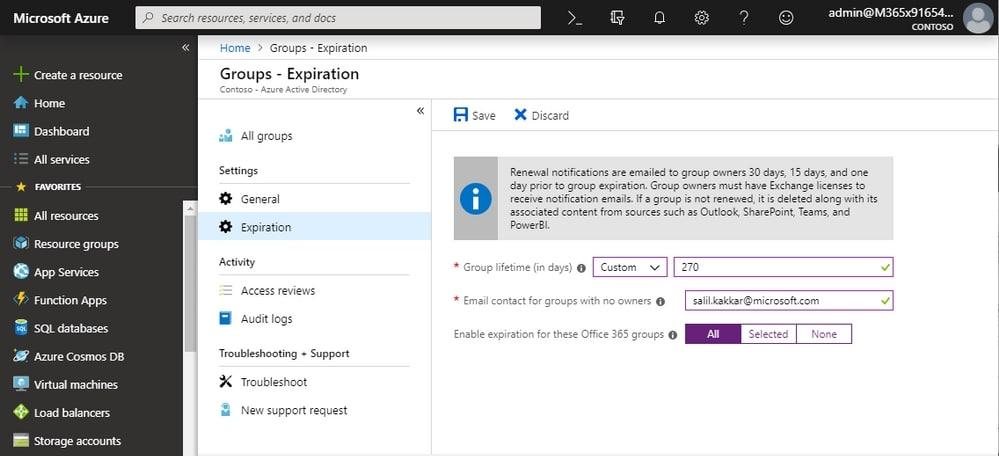 Политика истечения срока действия на основании активности пользователей для групп Office 365