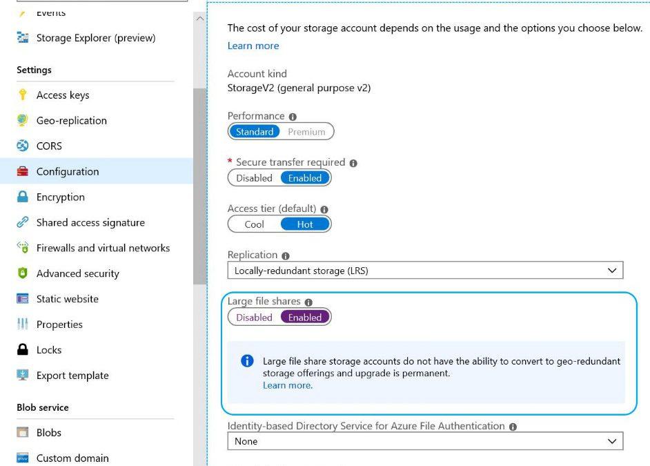 В скором времени общедоступными станут более крупные и мощные файловые ресурсы для Azure Files