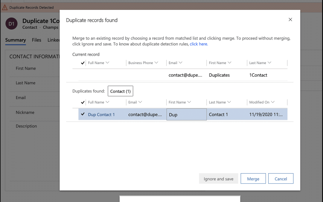 Объедините учетные записи, контакты и другие данные о потенциальных клиентах в Dynamics 365 CRM, сразу же после появления запроса на дублирование!