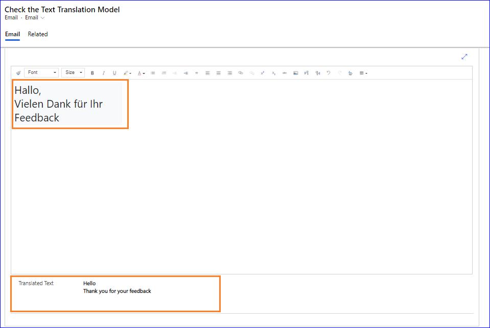 Используйте потенциал модели AI для перевода текста в Dynamics 365 Apps