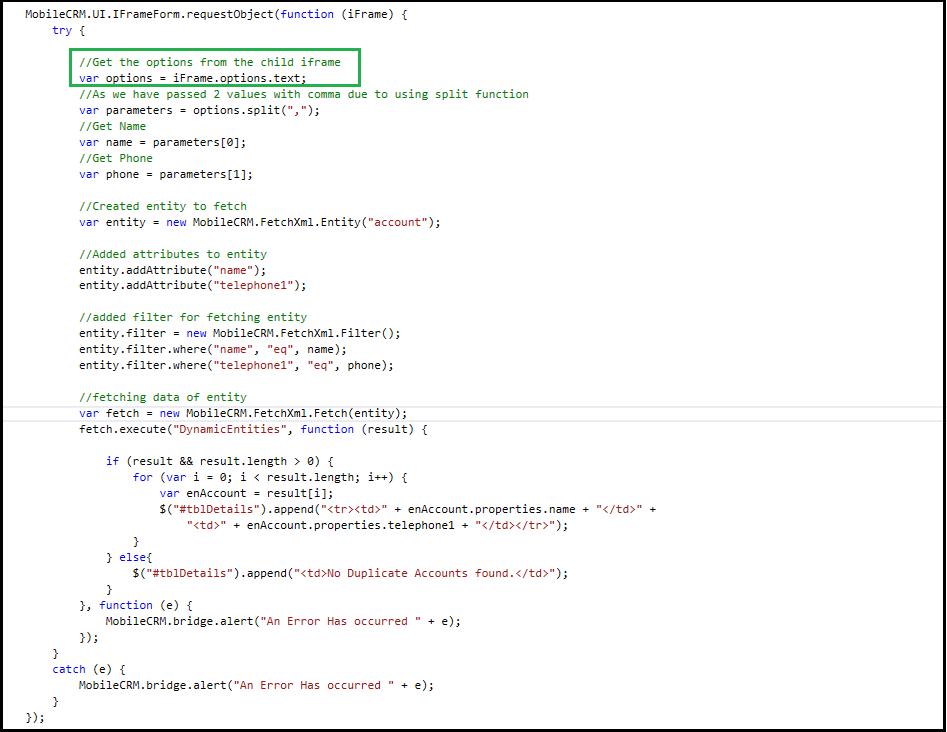 Открытие iFrame в модальном диалоге с настраиваемыми параметрами в мобильном приложении Resco