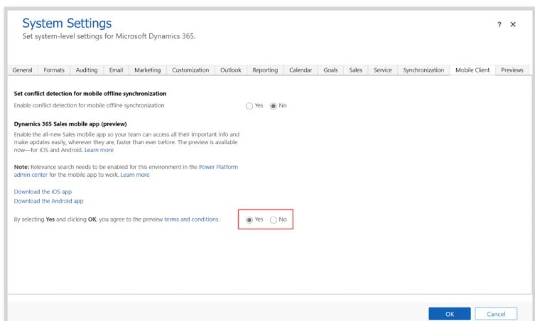 Включение мобильного приложения Dynamics 365 Sales Preview в расширенных настройках 2